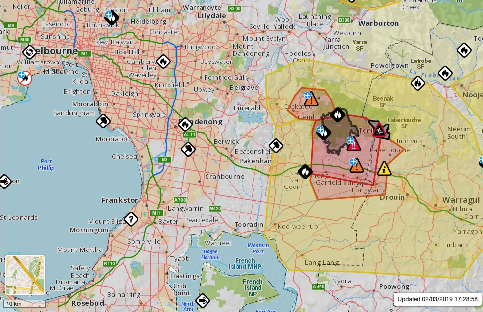 map wildfire Bunyip State Park in Victoria, Australia