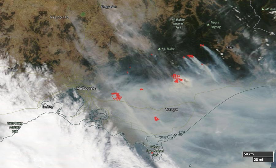 satellite photo map bushfire east of Melbourne, Victoria