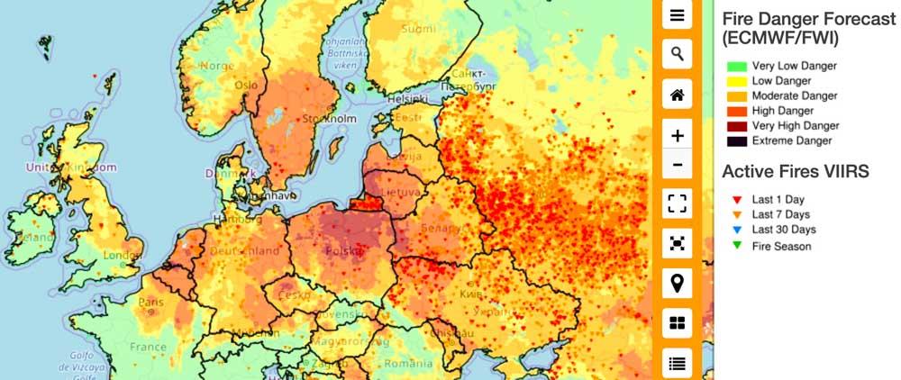 Wildland fire danger Europe