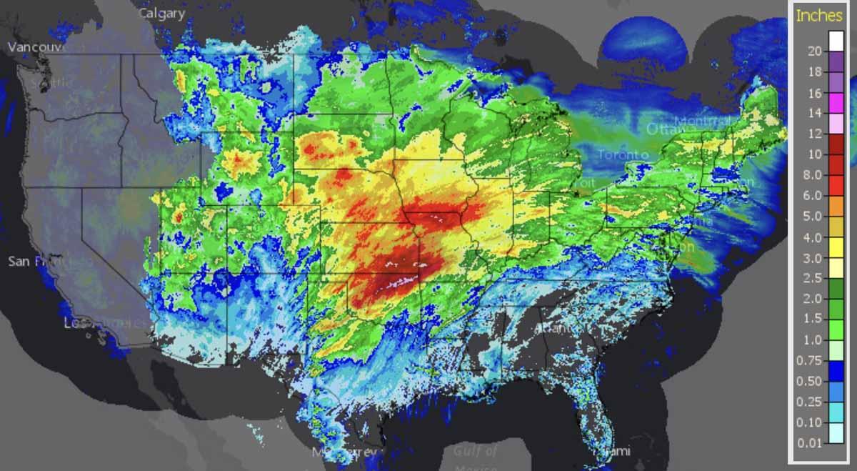 Cumulative precipitation 10-day period
