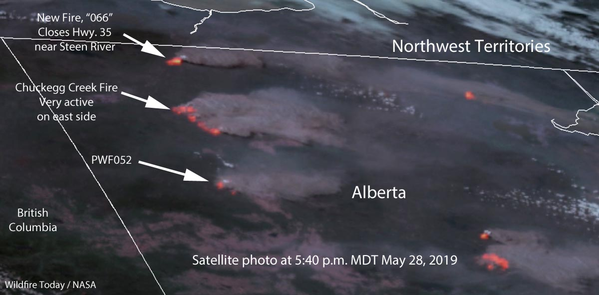wildfires in Northern Alberta May 28, 2019 Satellite photo