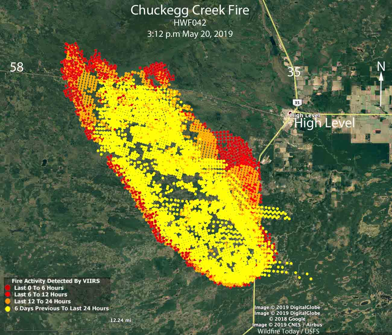 Map Chuckegg Creek HWF042 wildfire