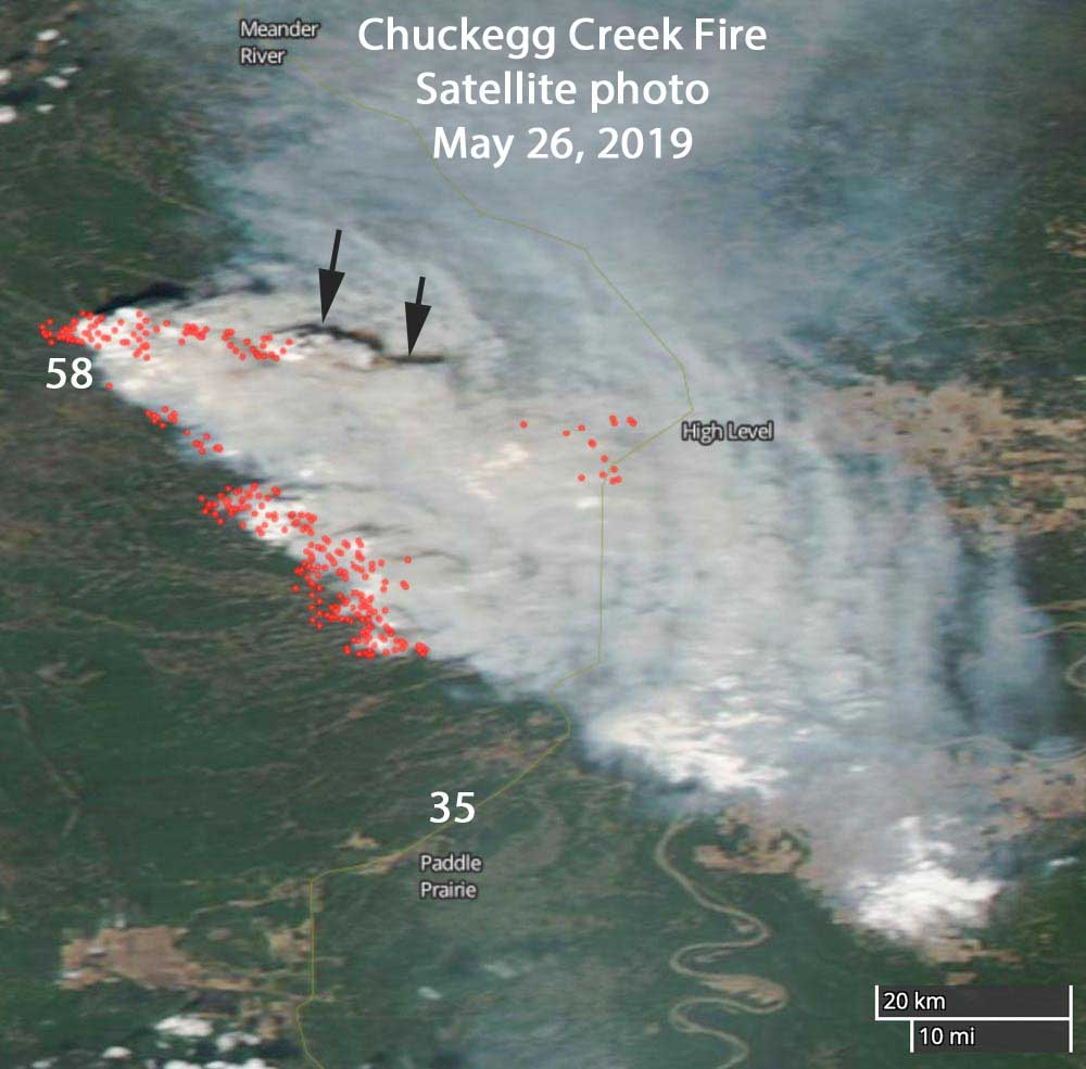 Chuckegg Creek Fire Alberta satellite photo
