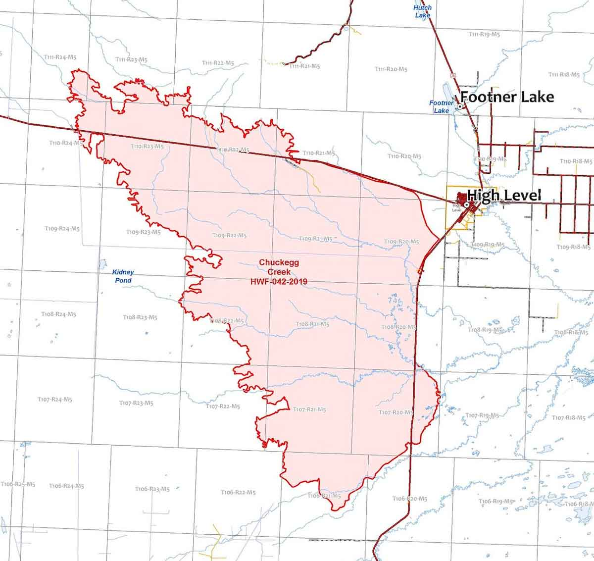 map Chuckegg Creek Fire High Level Alberta
