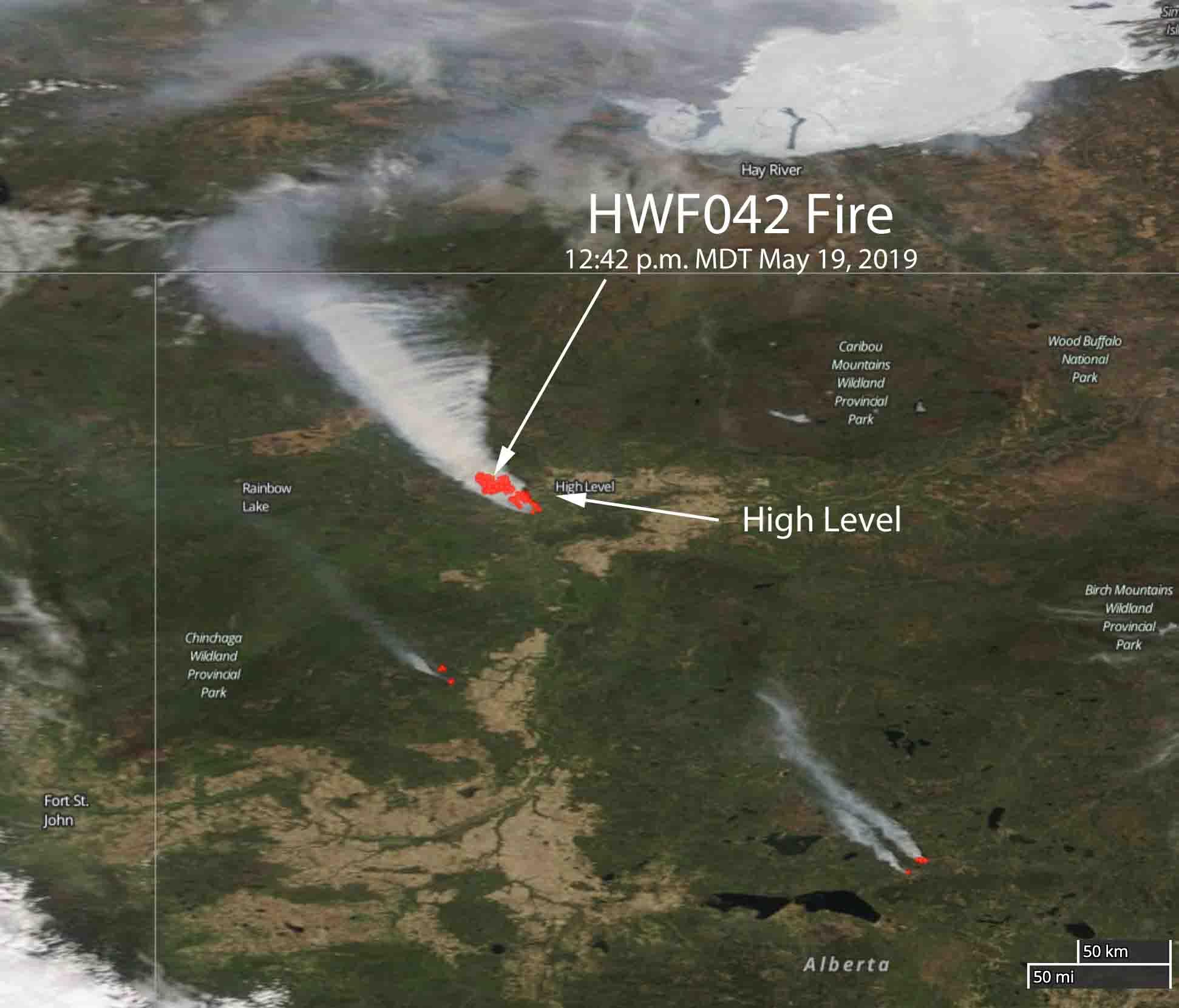 Satellite photo wildfire High Level, Alberta