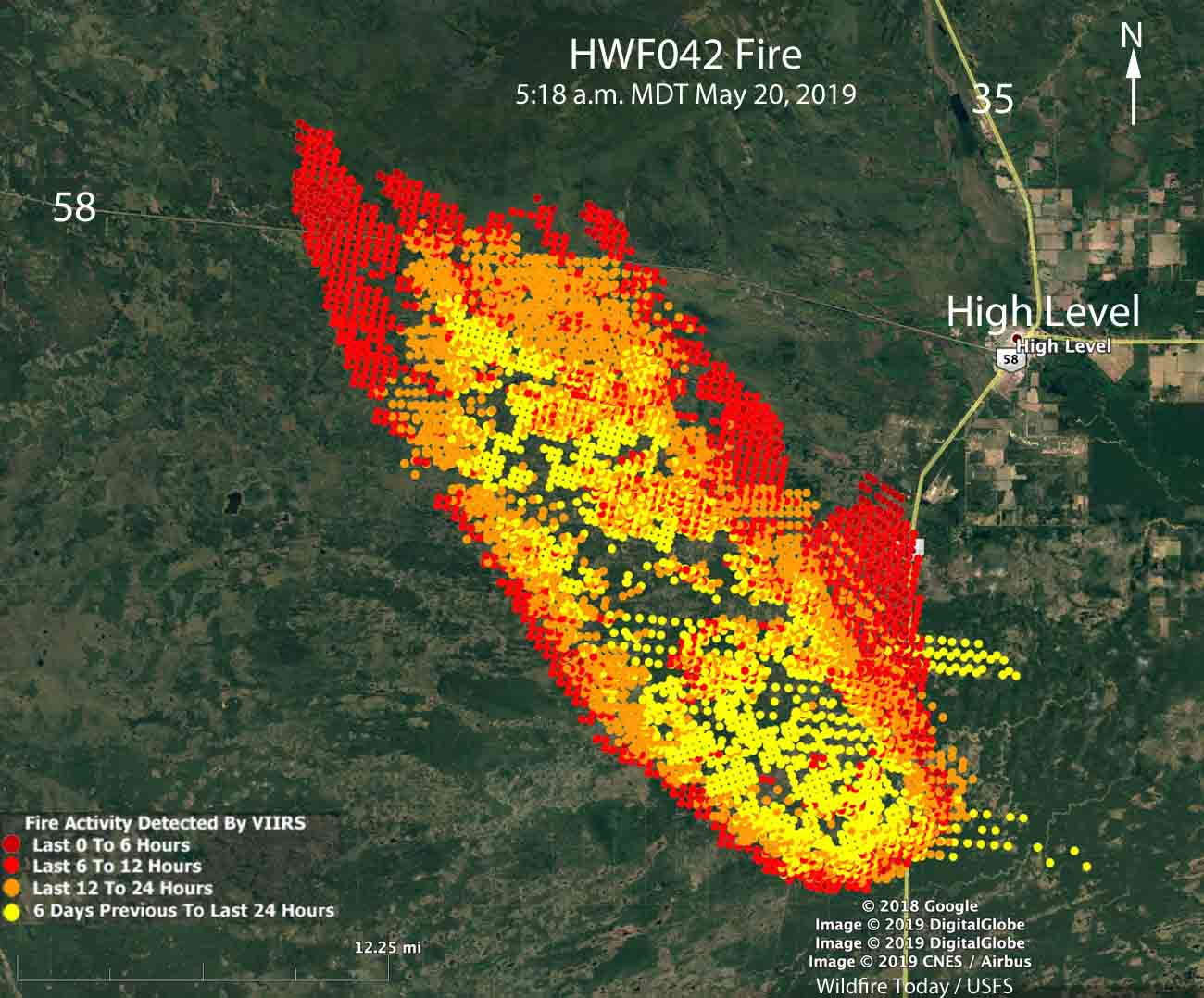 Map of the Chuckegg Creek HWF042 wildfire