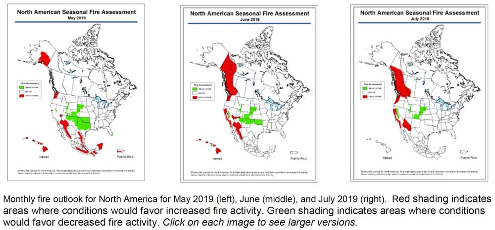 Wildfire potential for North America May, June, July, 2019