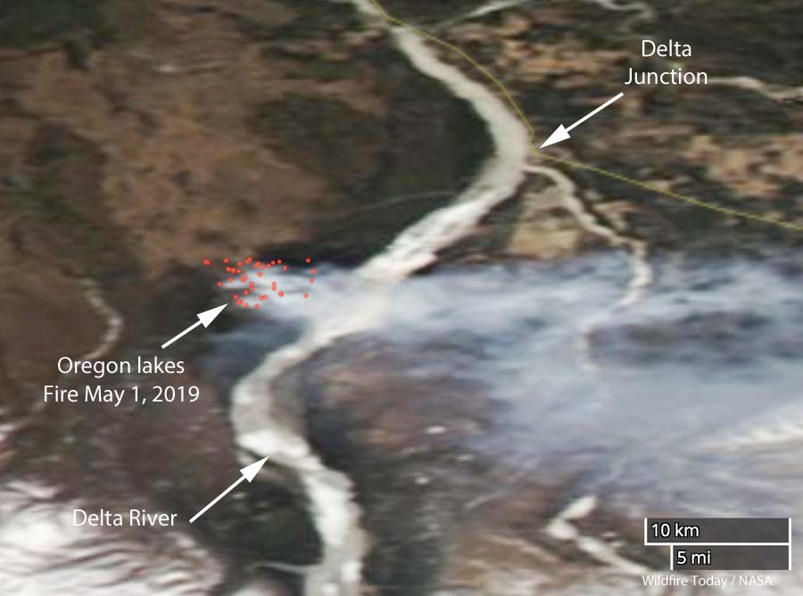 Oregon Lakes Fire satellite photo