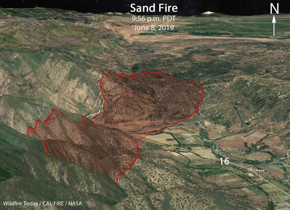 3-D map Sand Fire Yolo County California