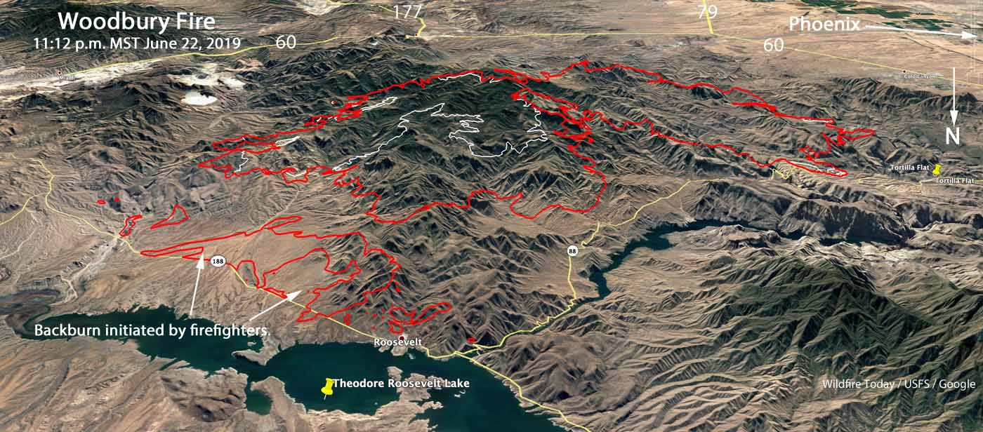 3-D map Woodbury Fire Phoenix Arizona Lake Roosevelt