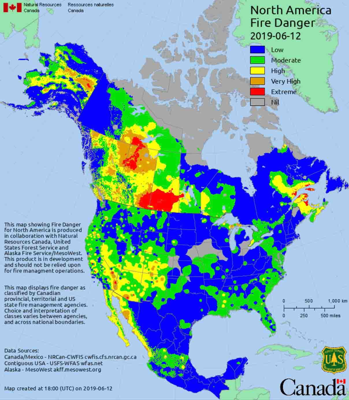 united states canada map Interpreting wildland fire danger, U.S. and Canada   Wildfire Today