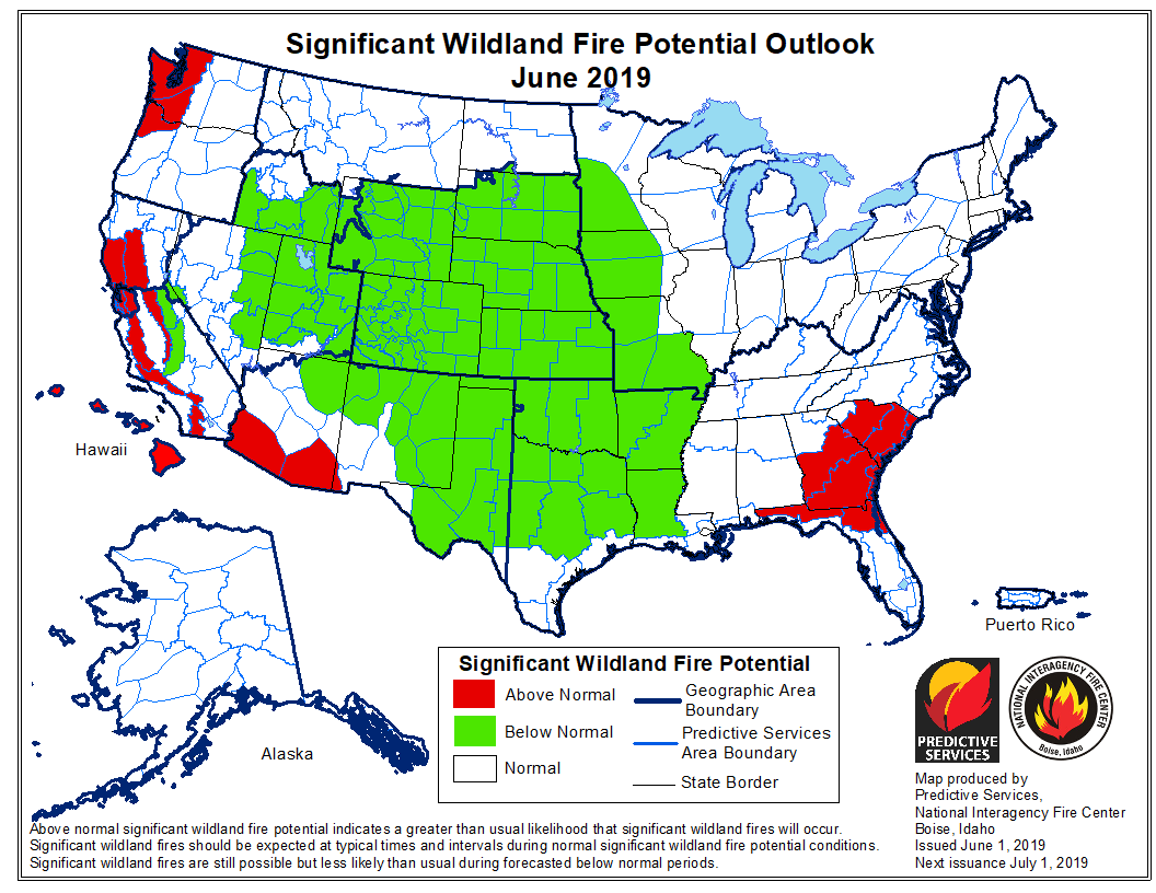 June wildfire potential