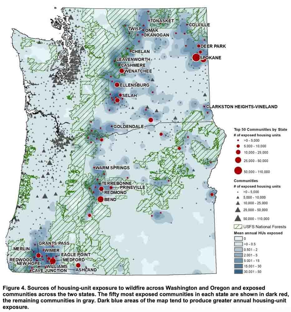 Washington Oregon communities exposed wildfire