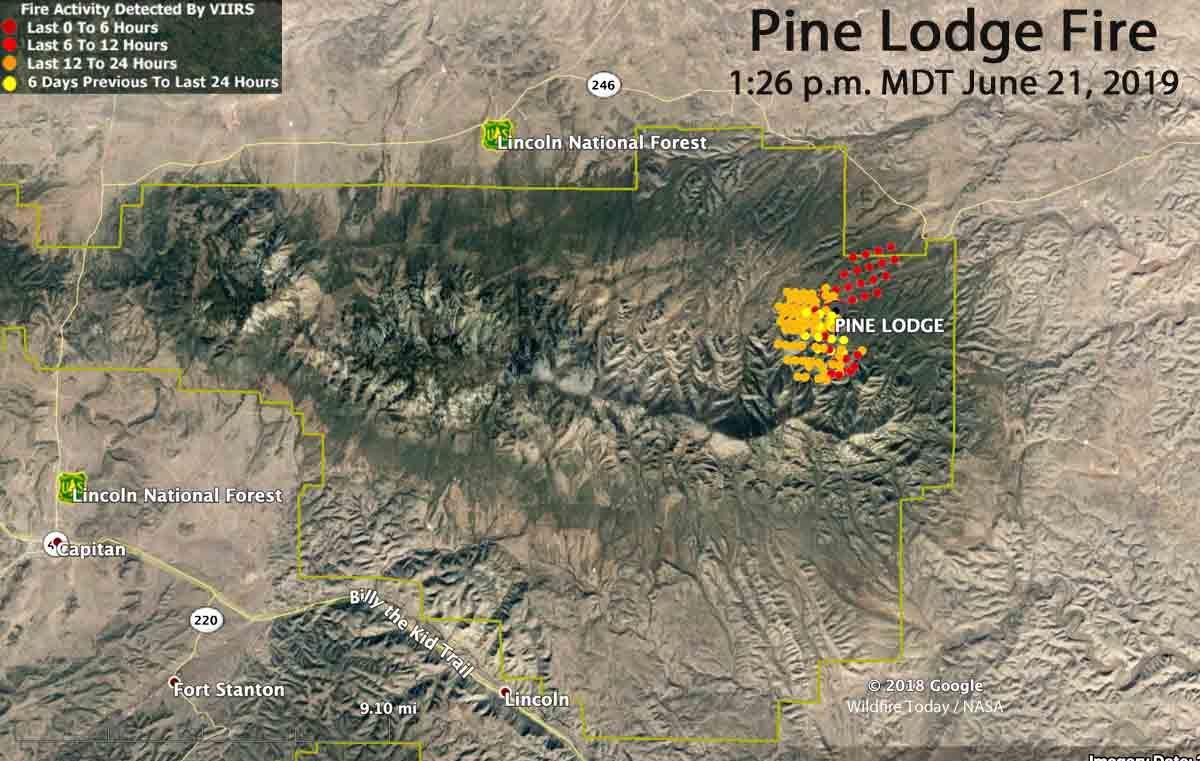 Map Pine Lodge Fire southwest New Mexico