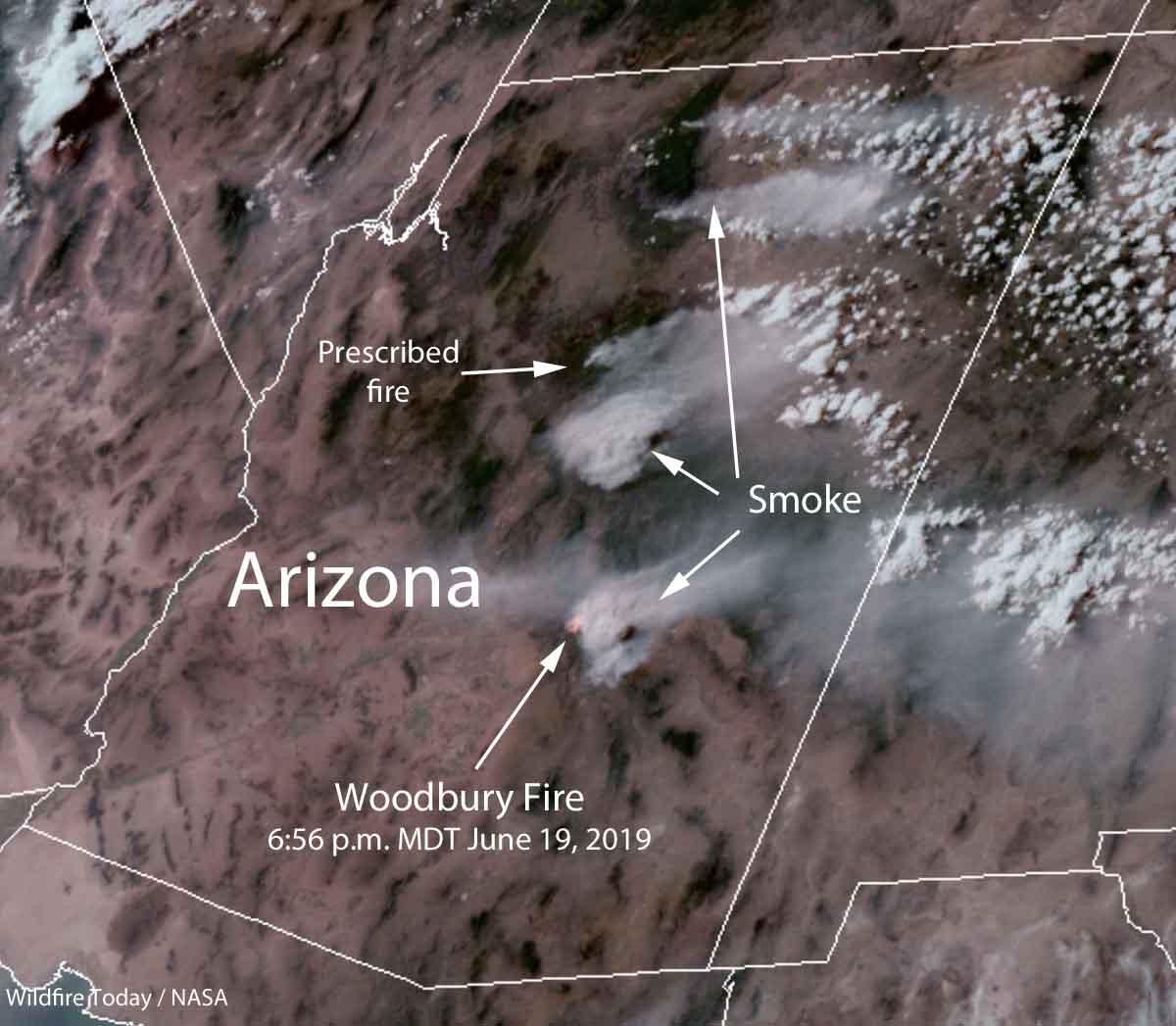 satellite photo fires wildfires smoke Arizona