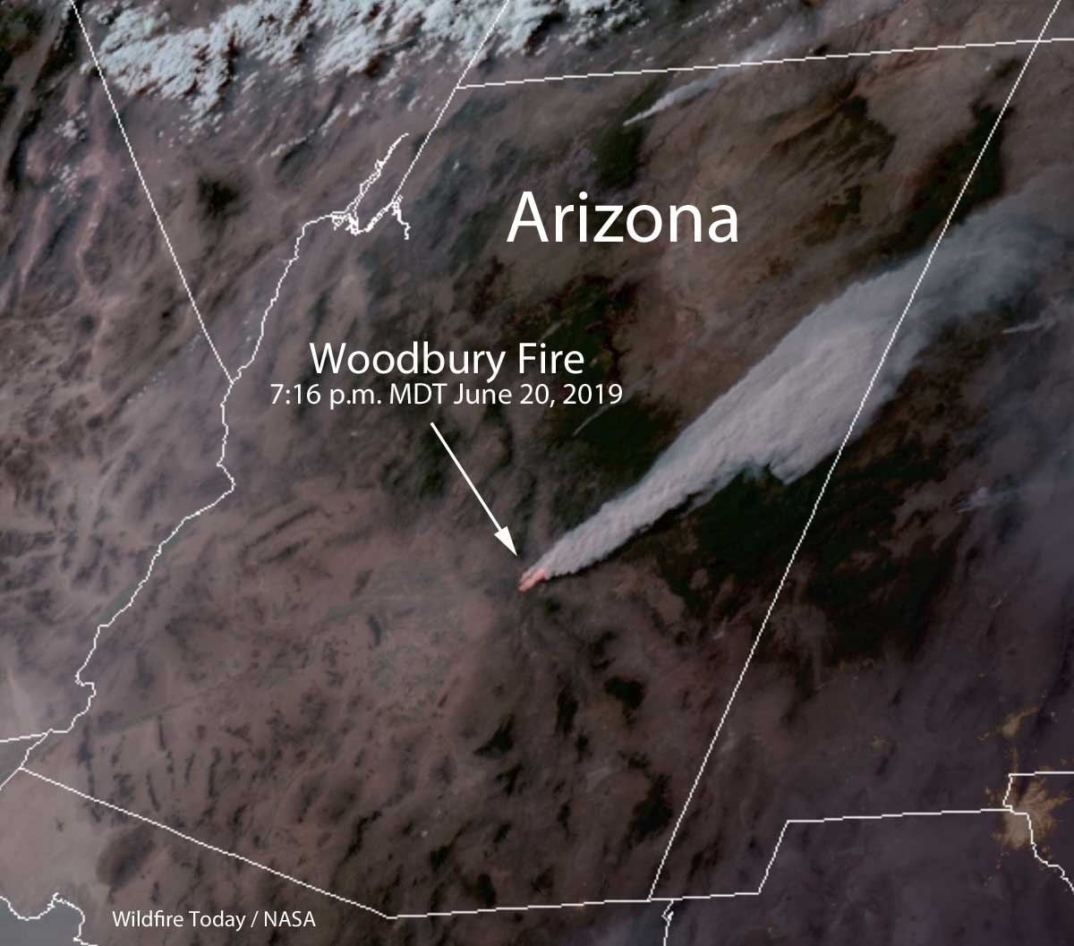 satellite photo smoke Woodbury Fire map wildfire