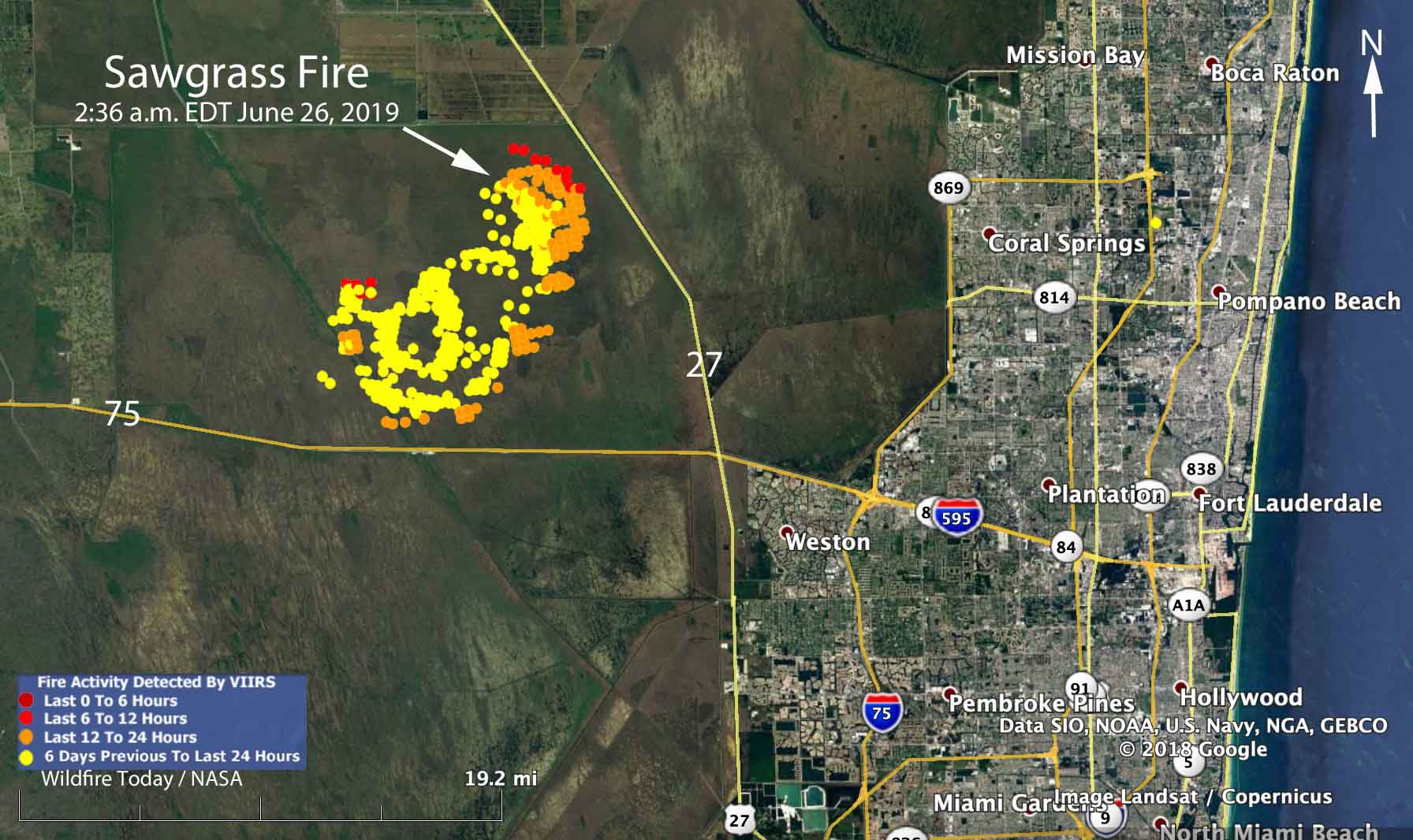 map Sawgrass Fire everglades Florida