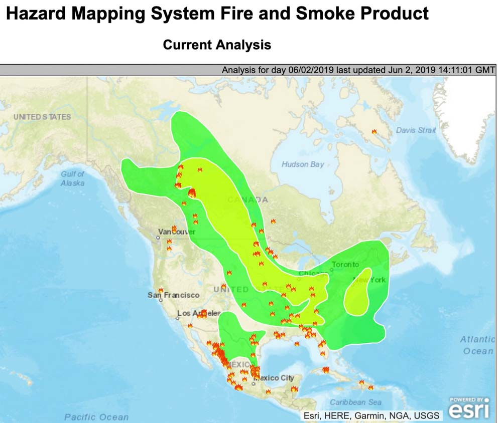 wildfire smoke map north america