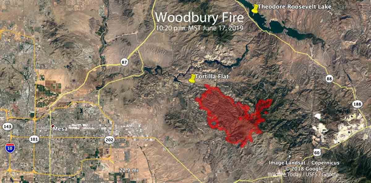 map of the Woodbury Fire