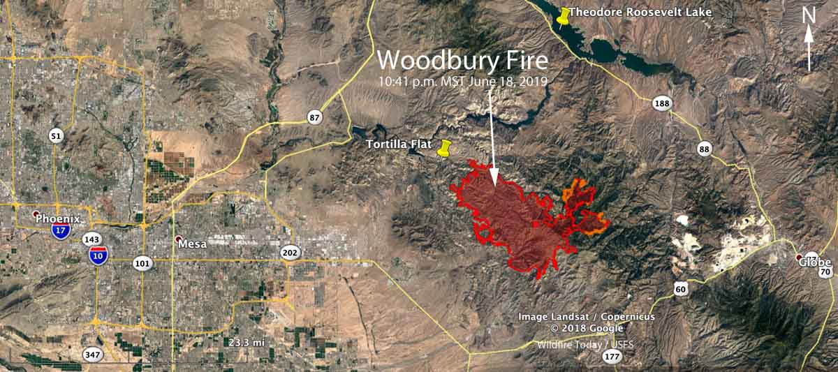 Map of the perimeter Woodbury Fire Phoenix Arizona
