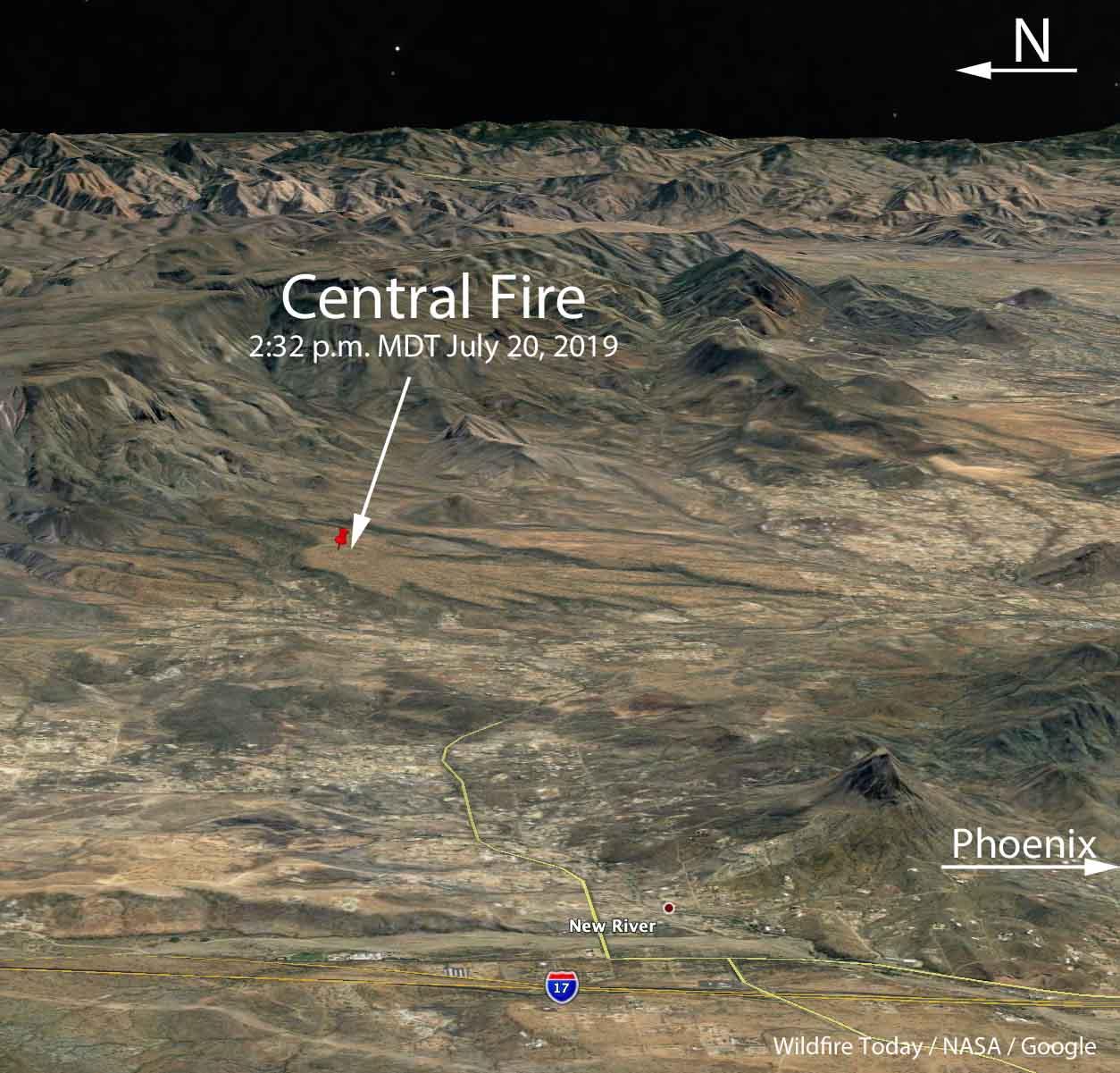map Central Fire New River, AZ
