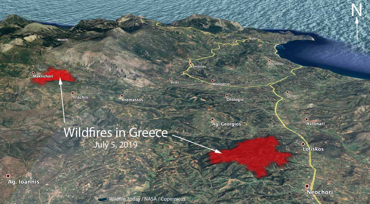 3-D map two wildfires Greek Island Evia