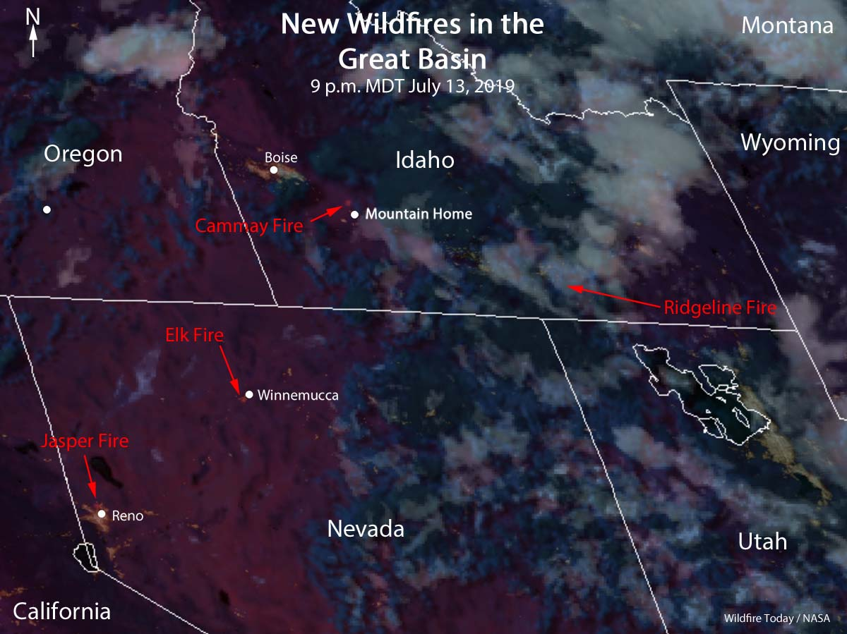 satellite four fires Idaho Nevada wildfires