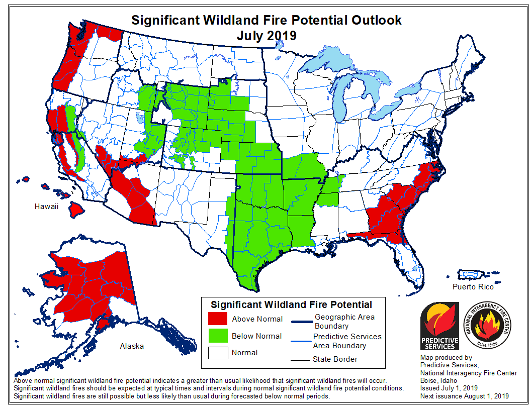 wildfire outlook 2019 July