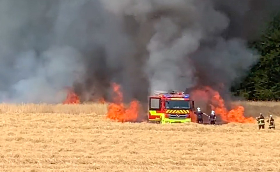 Luxembourg Firefighters engine burns