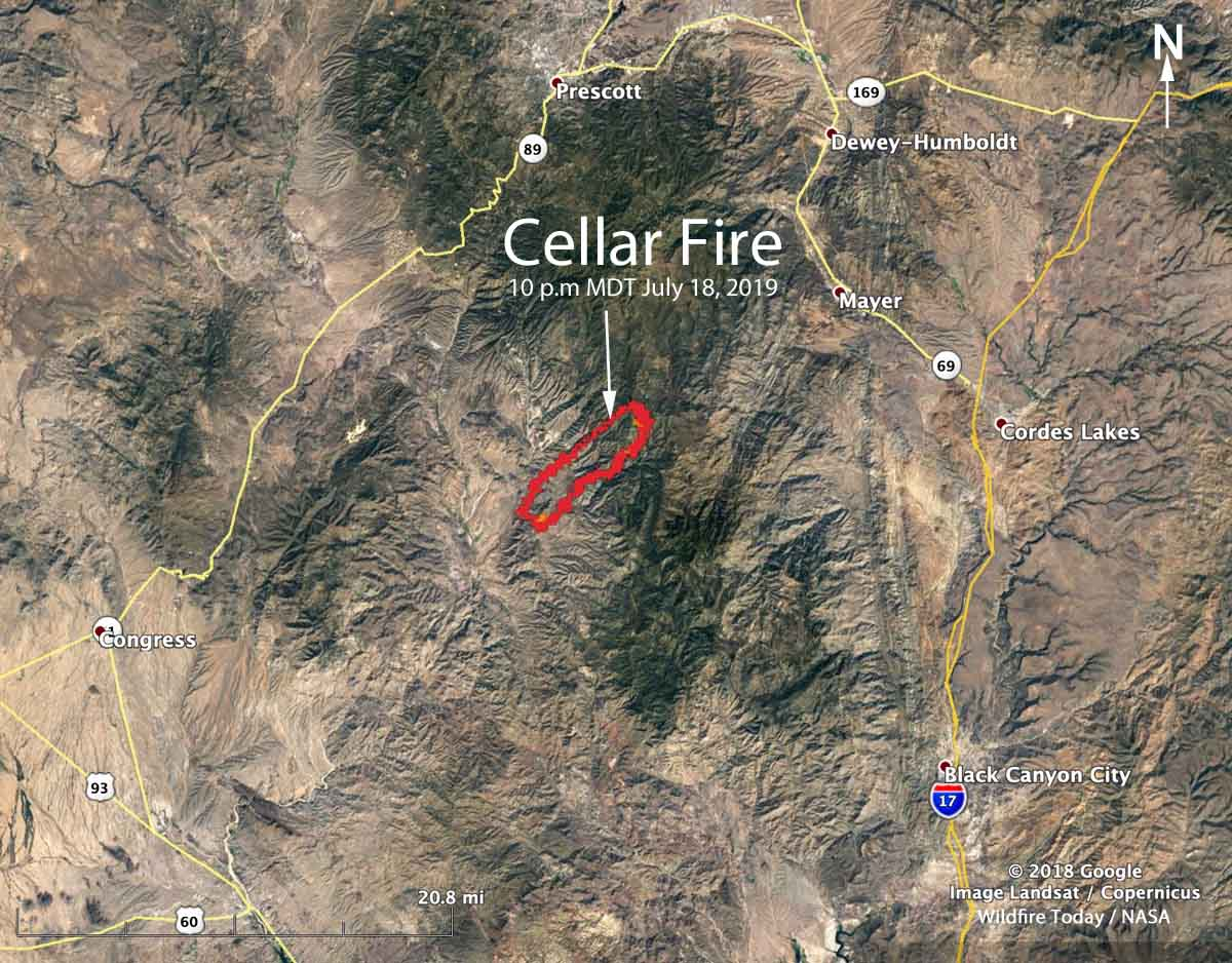 Map of the Cellar Fire