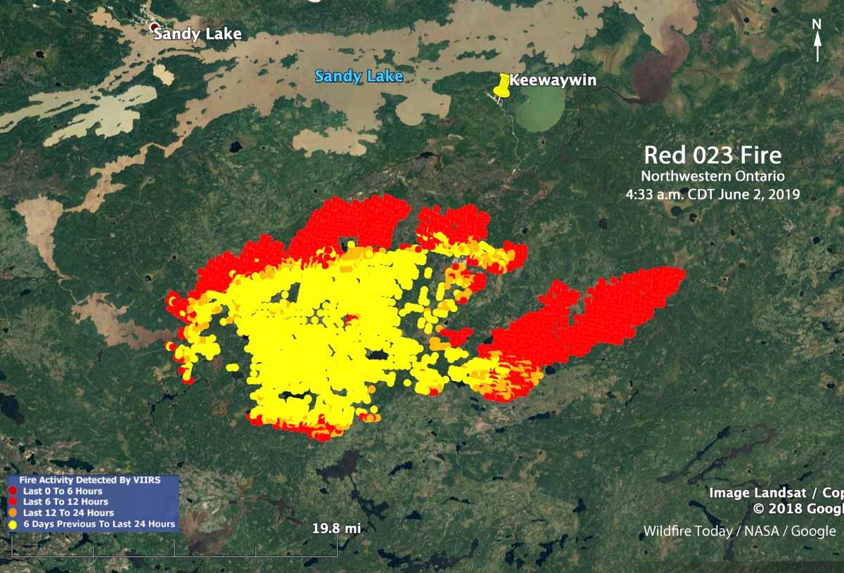 Map Red 023 fire Keewaywin Ontario Sandy Lake
