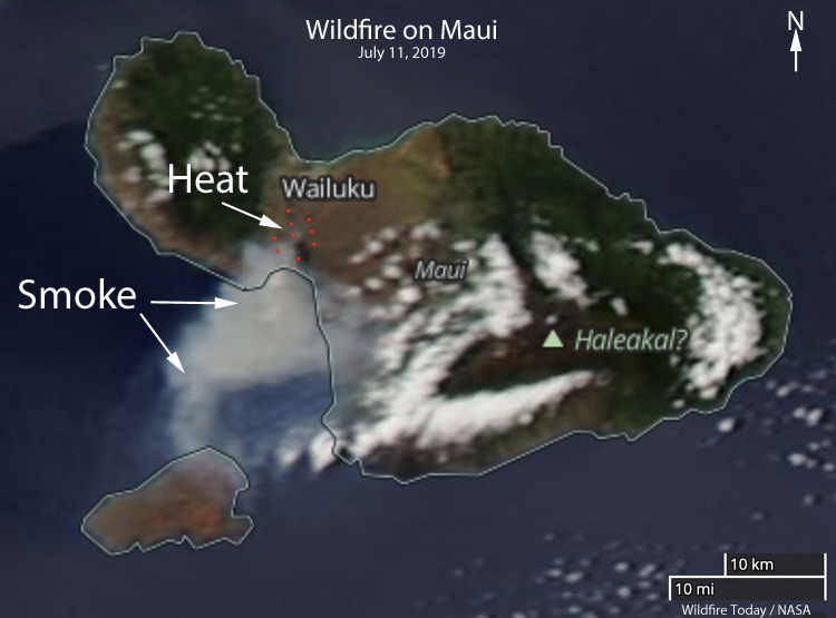 wildfire Maui detected by satellite july 11 2019