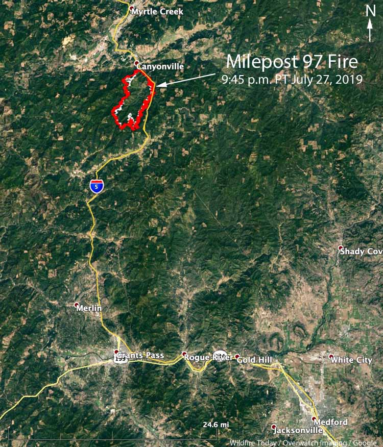 map Milepost 97 Fire Oregon wildfire