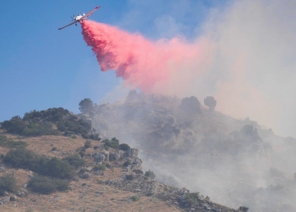 Round Fire air tanker drop Utah