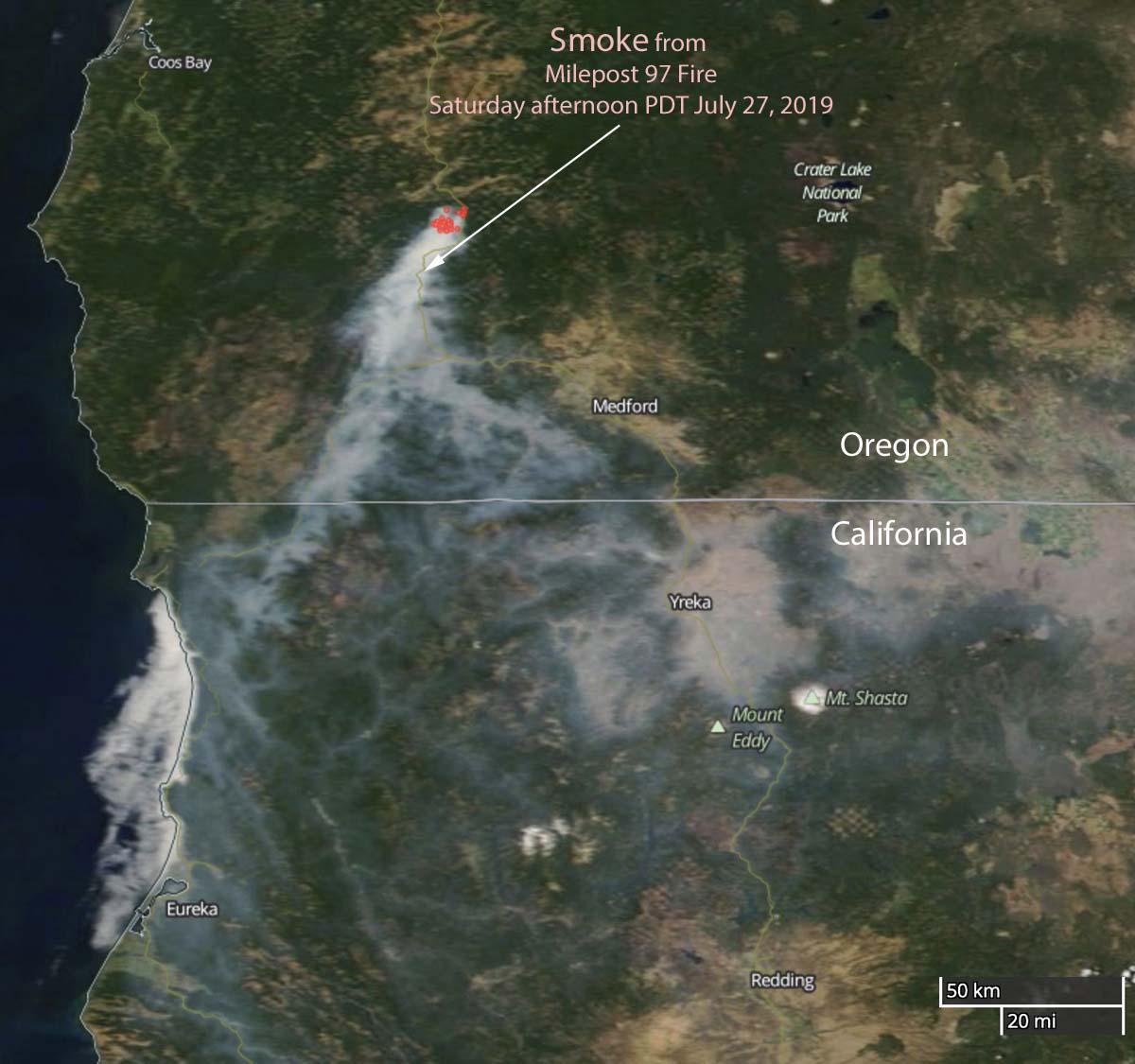 wildfire smoke Milepost 97 Fire Oregon