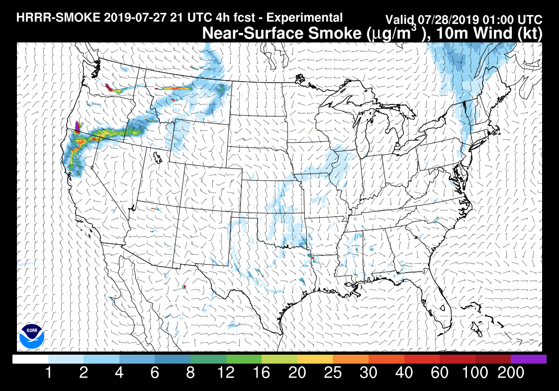 forecast distribution of wildfire smoke