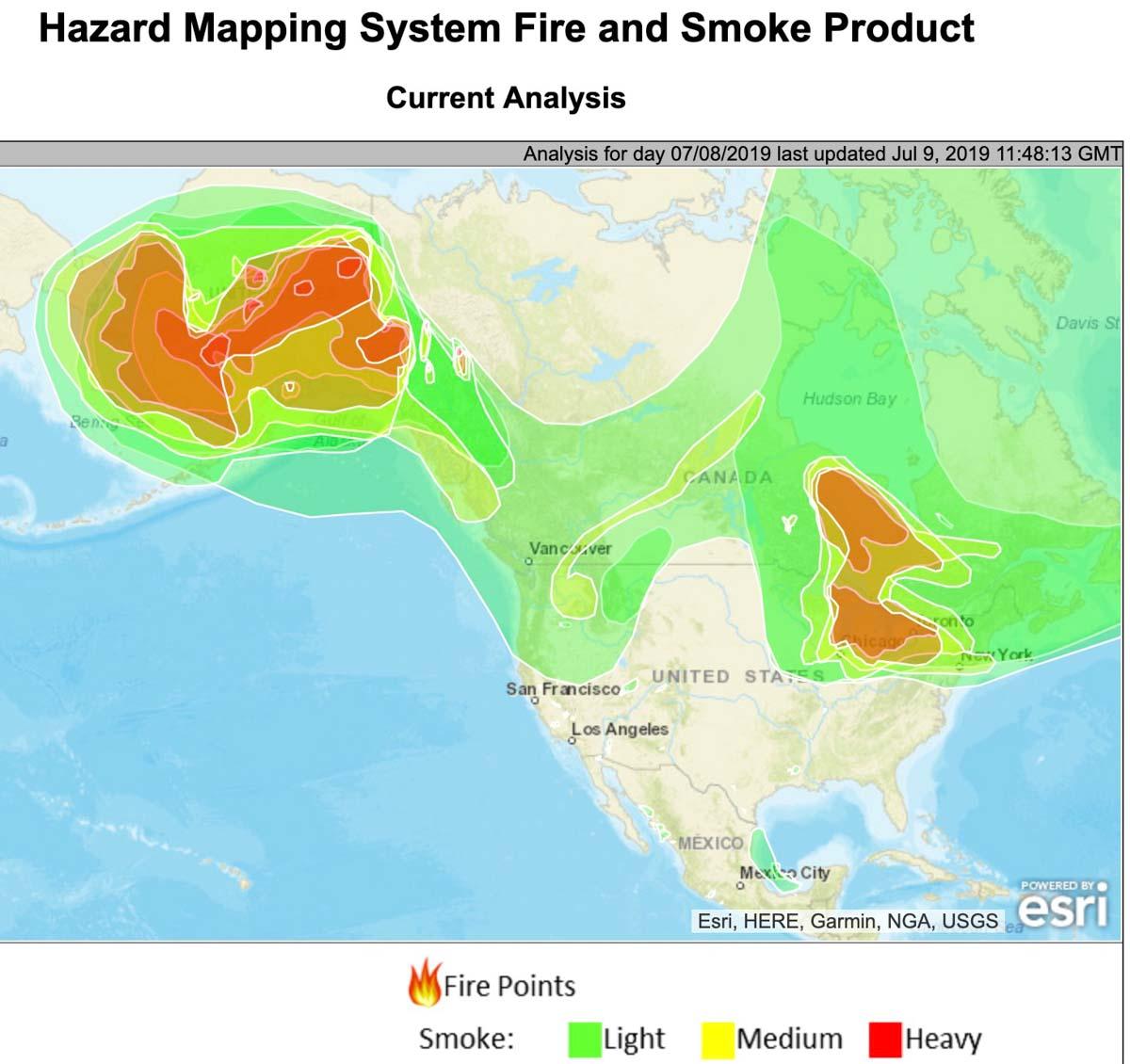wildfire smoke July 9 2019