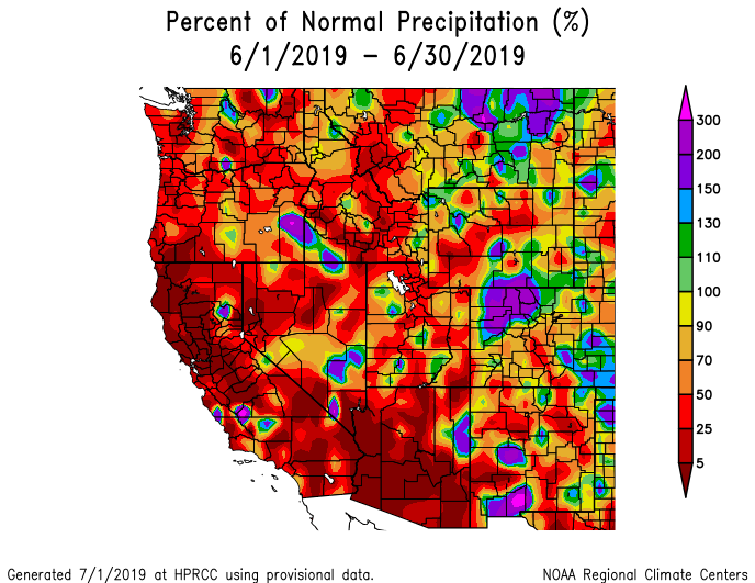 Precipitation during June in the West,