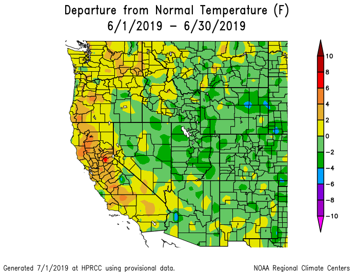 Temperature during June in the West,