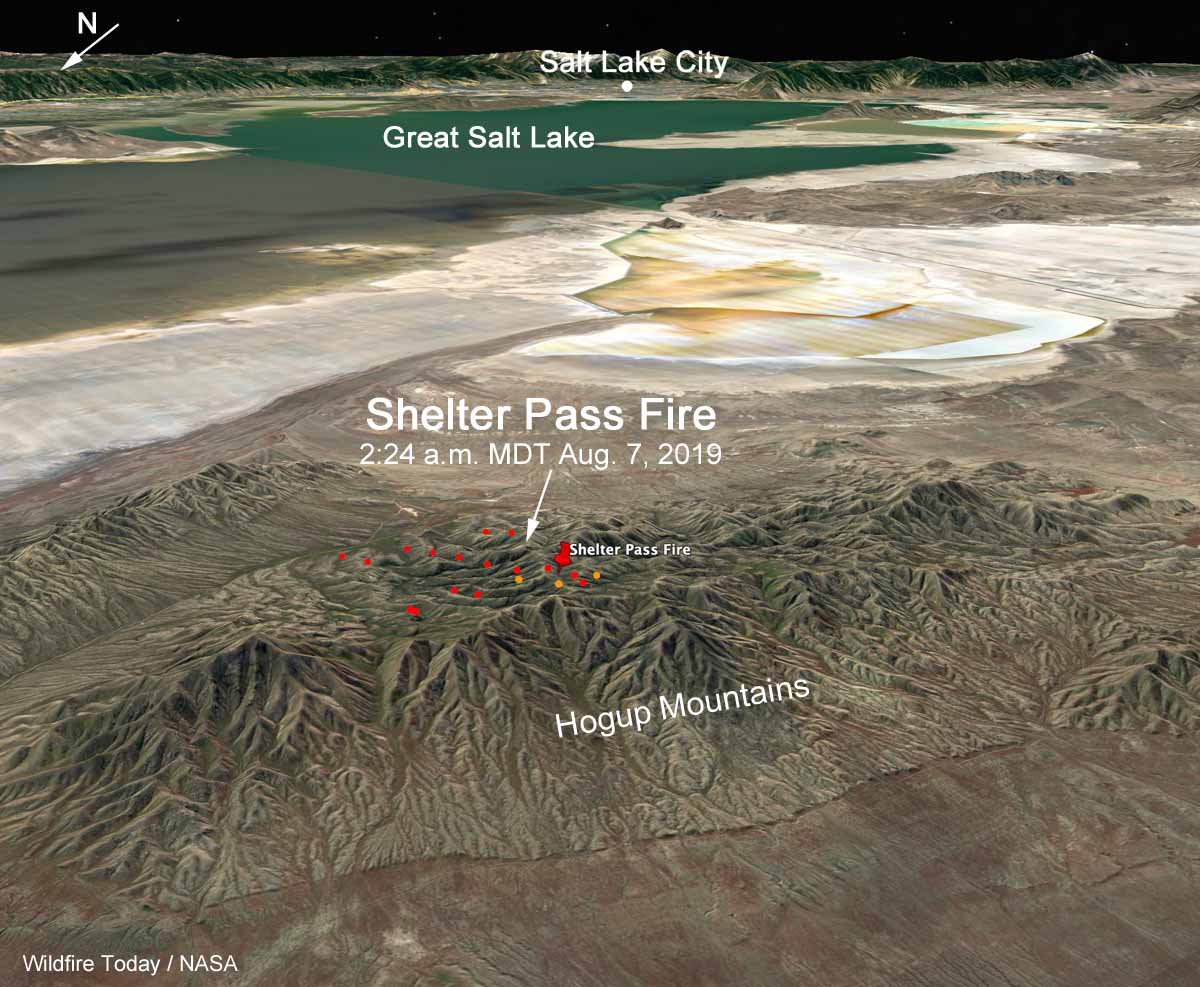 3-D map Shelter Pass Fire Great Salt Lake