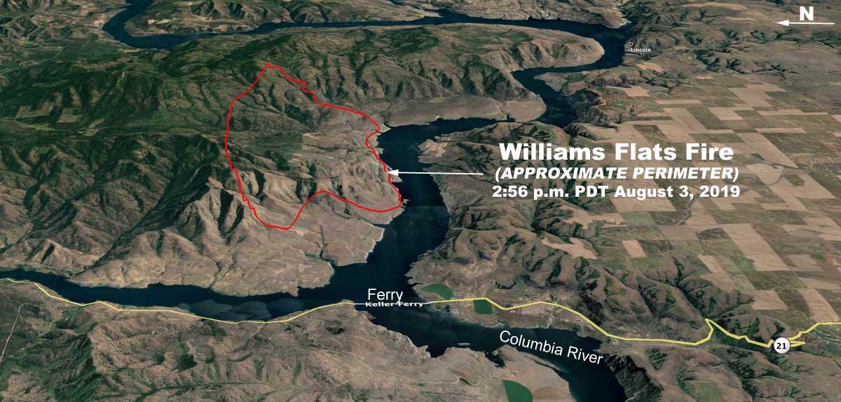 3-d map Williams Flats Fire Washington