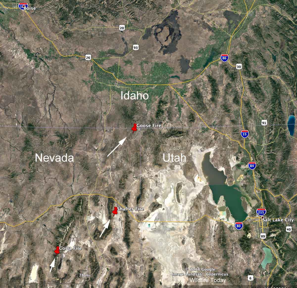 Map large wildfires northeast Nevada