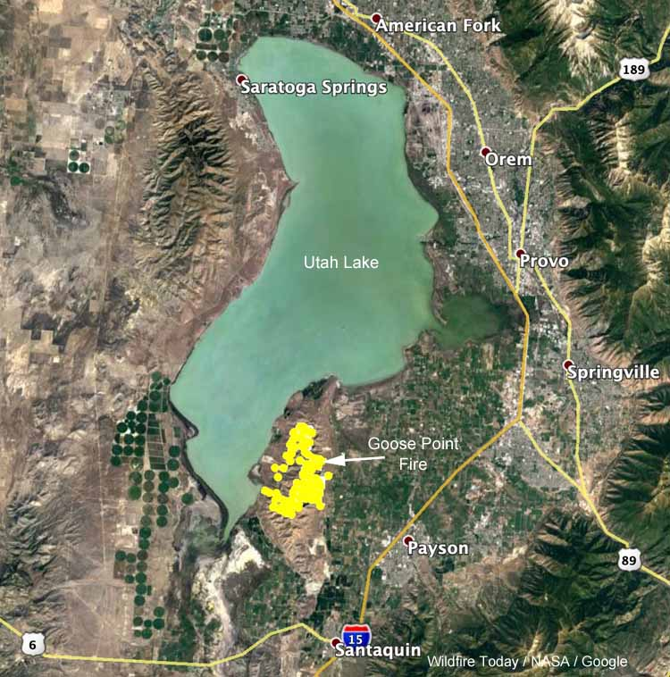 map Goose Point Fire Provo, Utah