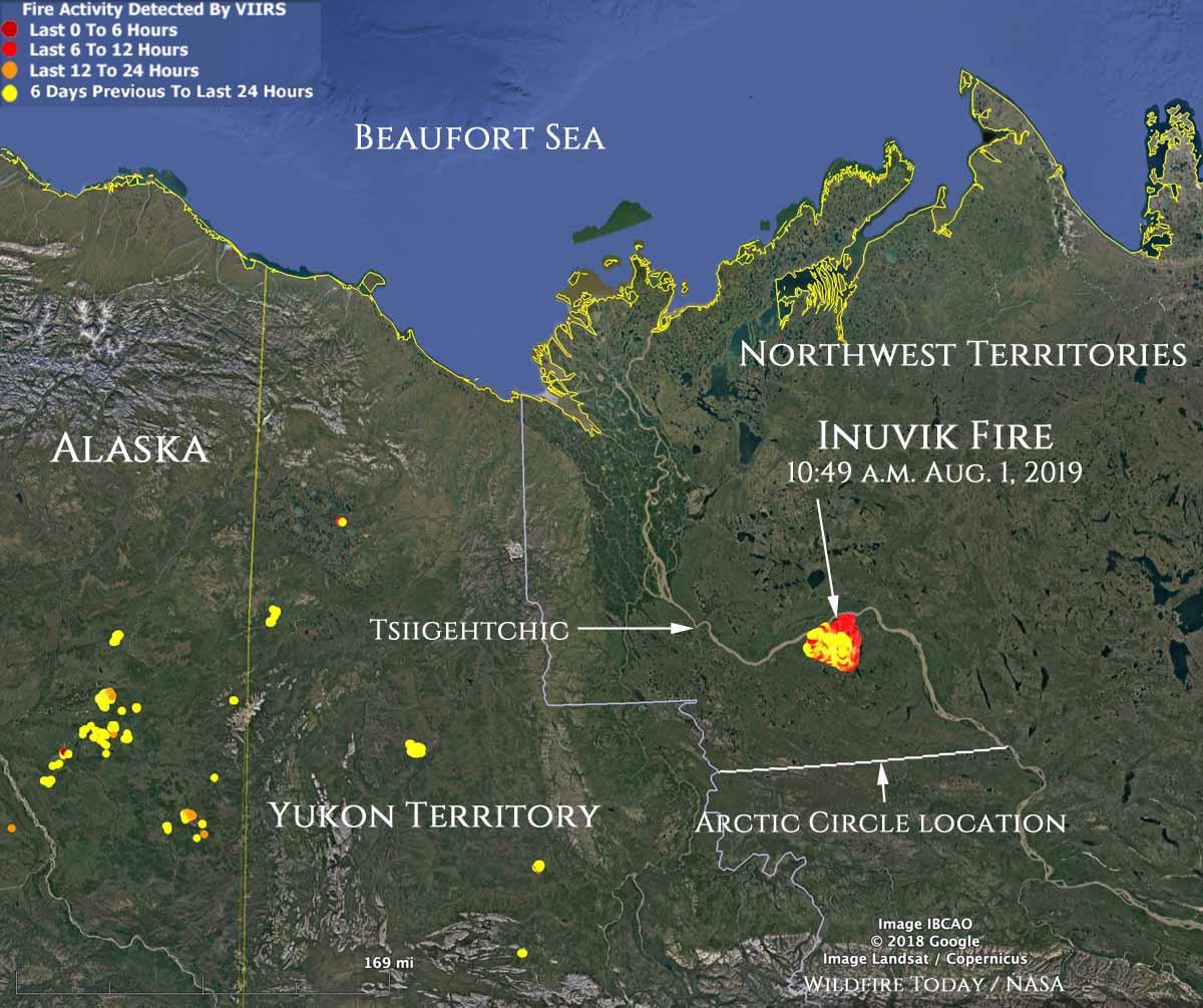 Map location Inuvik Fire Northwest Canada