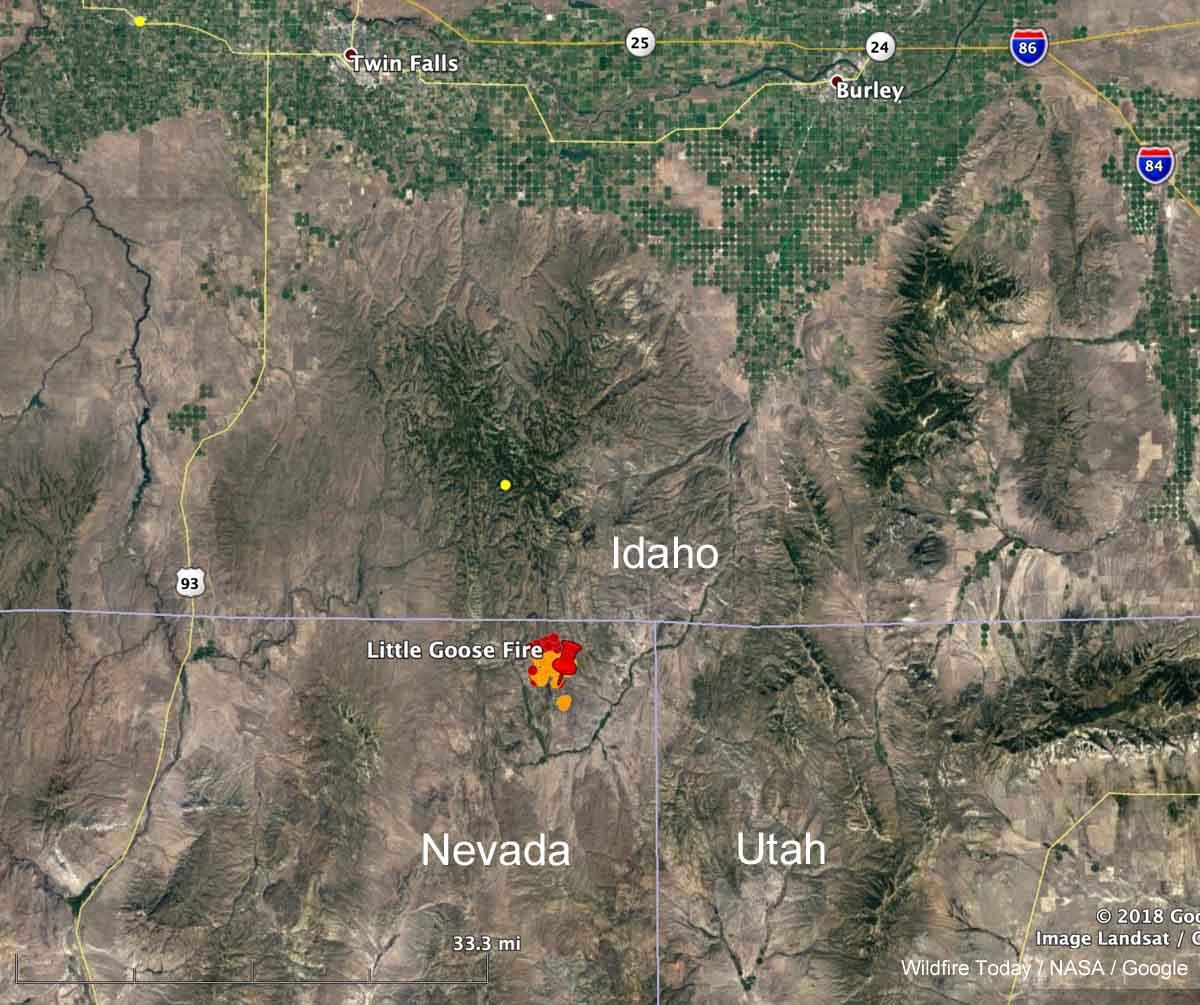 soda fire map idaho Goose Fire Burning From Nevada Toward Idaho Wildfire Today