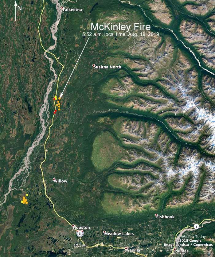 Map location McKinley Fire Talkeetna Alaska