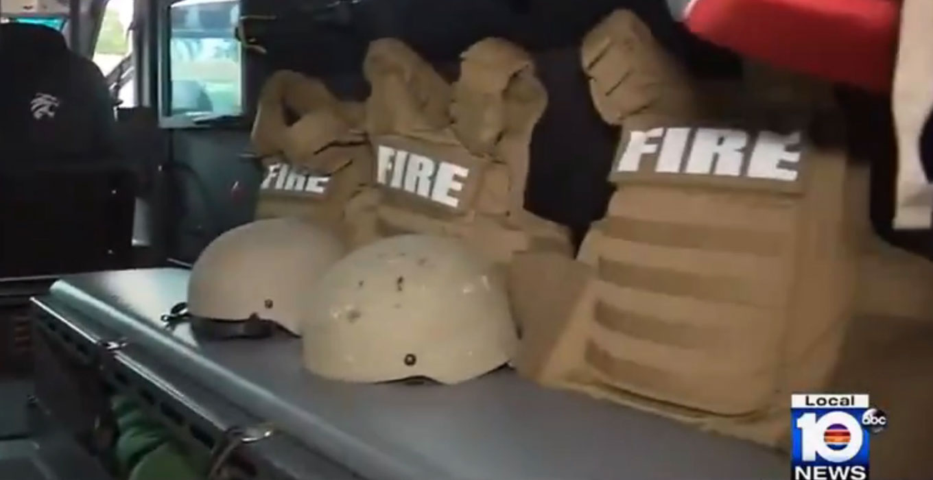 Miami fire department armored vehicle bullet proof vests