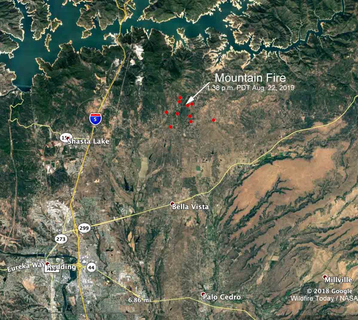 map Mountain Fire Redding California