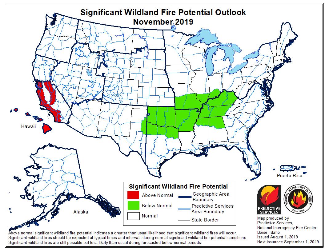 November wildfire outlook