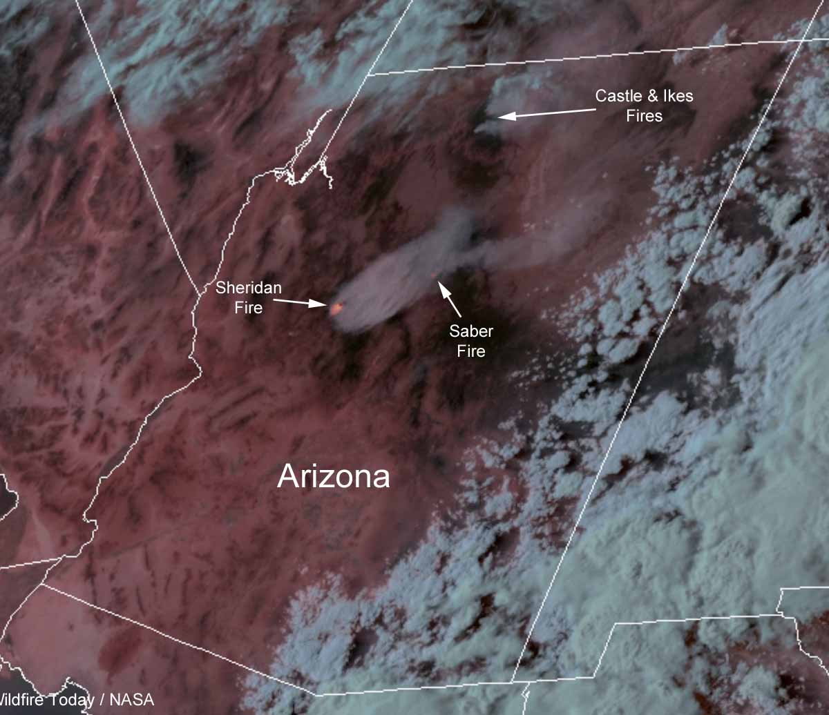 maplocation of wildfires Arizona Sheridan Saber wildfires
